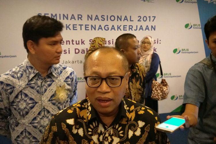 Direktur Utama BPJS Ketenagakerjaan Agus Susanto saat acara seminar BPJS Ketenagakerjaan di Hotel Borobudur, Jakarta, Kamis (23/11/2017).