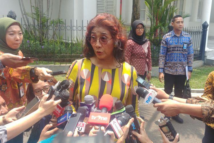Menteri Kelautan dan Perikanan Susi Pudjiastuti d Istana Bogor, Senin (22/10/2018).