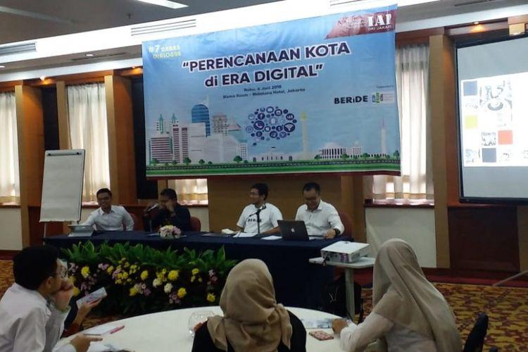 Diskusi bertema Perencanaan Kota di Era Digital yang digelar oleh Ikatan Ahli Perencanaan (IAP) Indonesia di Jakarta, Rabu (6/6/2018).