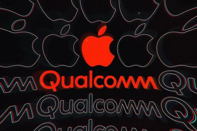Ilustrasi logo Apple dan Qualcomm
