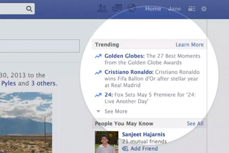 Kolom Trending di Facebook.