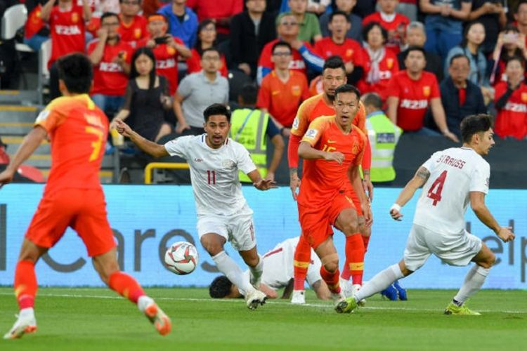China memastikan lolos ke babak 16 besar Piala Asia 2019 seusai memenangi laga kedua Grup C melawan Filipina, 11 Januari 2019.