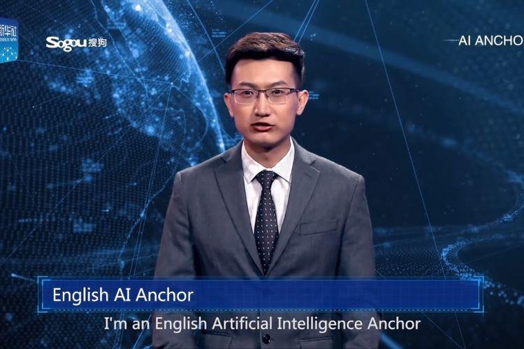 Tampilan pembaca berita dengan kecerdasan buatan yang diperkenalkan stasiun televisi China, Xinhua News.