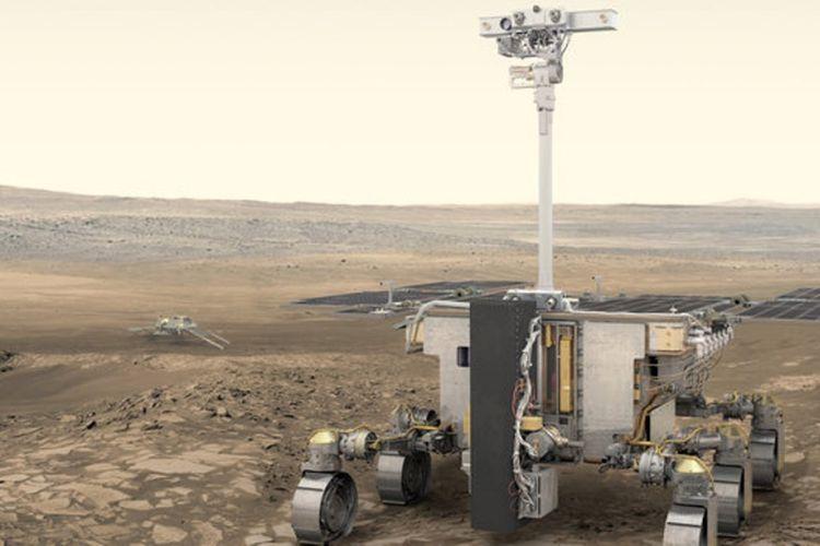 Ilustrasi rover Rosalind Franklin di Mars.