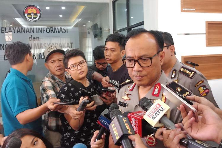 Kepala Biro Penerangan Masyarakat Humas Brigjen (Pol) Dedi Prasetyo di Gedung Humas Mabes Polri, Jakarta Selatan, Selasa (14/5/2019).