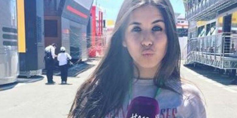 Paula Milla melakukan laporan untuk HA10 tentang GP Spanyol pada Formula 1 musim 2017, 13 Mei 2017.