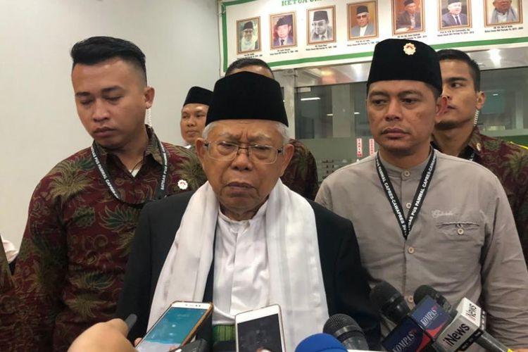 Calon wakil presiden nomor urut 1, Maruf Amin, di Kantor Majelis Ulama Indonesia, Jalan Proklamasi, Selasa (6/11/2018).