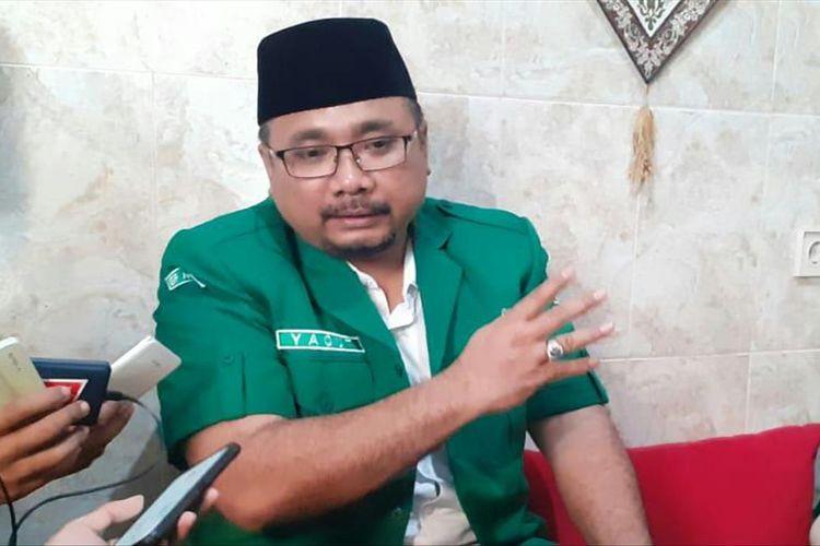 Ketua Umum PP GP Ansor, Yaqut Cholil Qoumas, usai membuka Konferensi Wilayah GP Ansor Jawa Timur di Ponpes Sabilurrosyad Kota Malang, Minggu (28/7/2019)