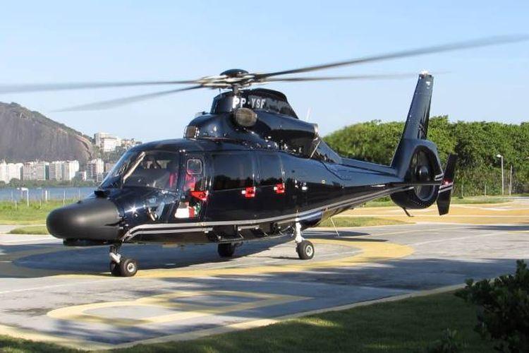Helikopter jenis Dauphin AS365 N3 bermesin ganda yang jatuh di Laut Arab, Sabtu (13/1/2018), membawa lima penumpang dan dua pilot.