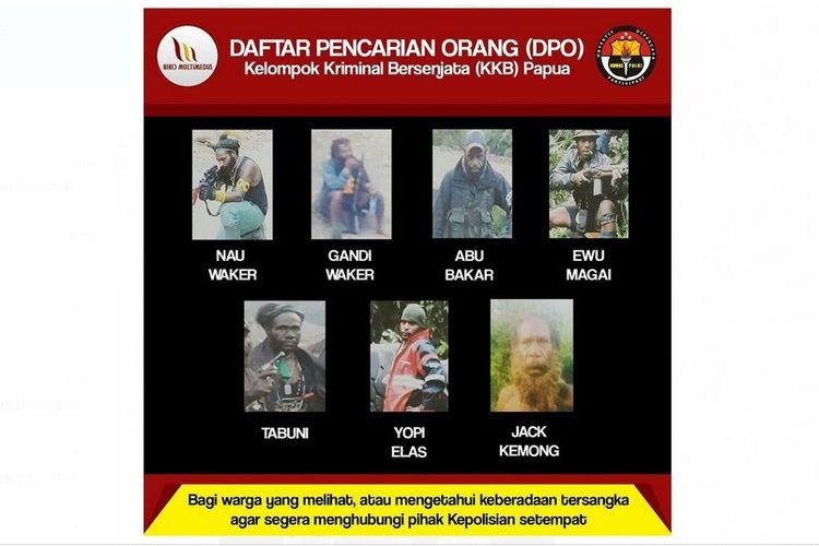 Polda Papua merilis DPO kelompok bersenjata di Papua.