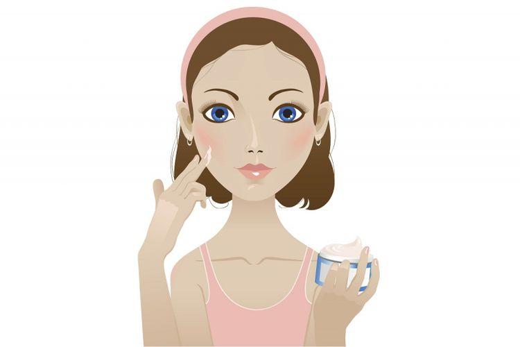 Ilustrasi menggunakan pelembab wajah.
