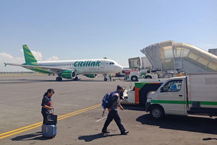 Pesawat maskapai Citilink di Bandara Juanda, Surabaya, Senin (14/5/2018).