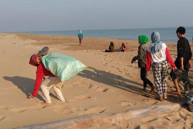 Aksi bersih di pantai Sungai Belacan yang merupakan salah satu titik monitoring sarang peneluran penyu di Dusun Ciremai, Desa Sebubus, Kecamatan Paloh, Kabupaten Sambas, Kalimantan Barat