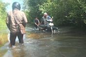 Jalan Penghubung Prabumulih dan Kabupaten Pali Terendam Banjir