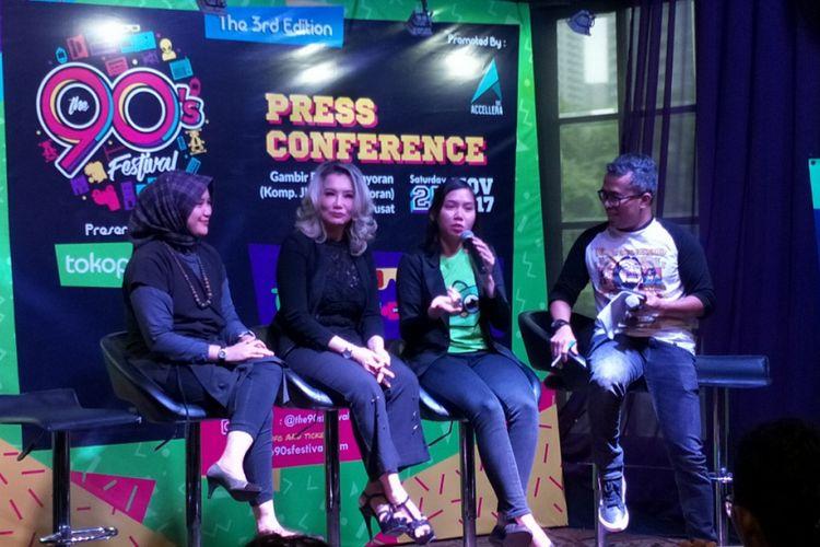 Konferensi pers The 90s Festival di Foodism, Kemang, Jakarta Selatan, Selasa (14/11/2017).