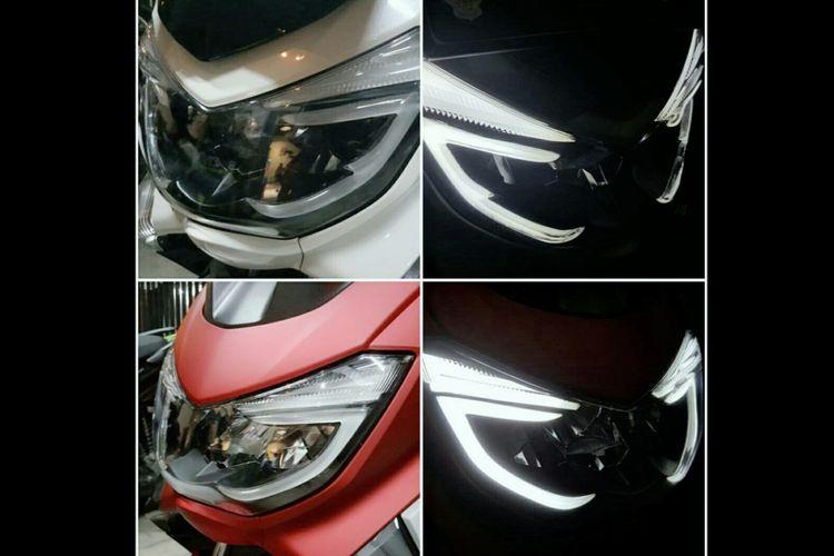 Lampu variasi lazy eye buatan Novi, pemilik bengkel modifikasi headlamp dan stoplamp Lazy Eyes, yang disematkan pada lampu depan dan belakang Yamaha NMax. (Foto: dokumentasi Lazy Eyes).