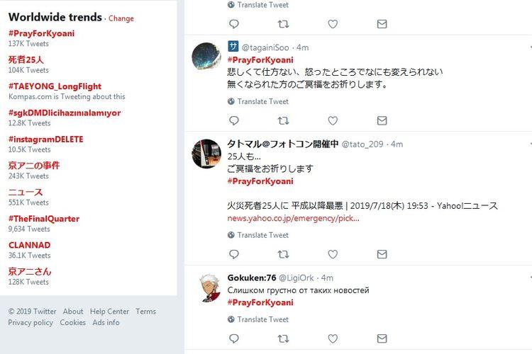 Tagar #PrayForKyoani jadi trending topic dunia di Twitter.