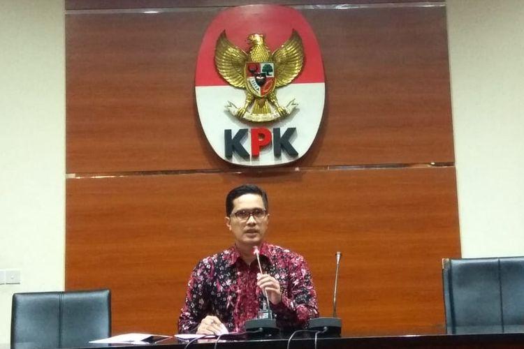 Juru Bicara KPK Febri Diansyah dalam konferensi pers di Gedung Merah Putih KPK, Jakarta, Senin (13/5/2019).