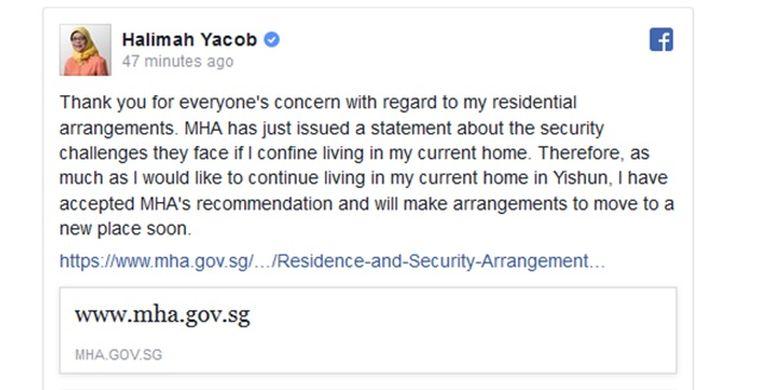 Unggahan Haalimah Yacob di akun Facebook miliknya