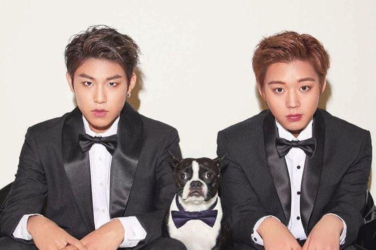 Member boyband Wanna One, Park Woo Jin (kiri) dan Park Ji Hoon
