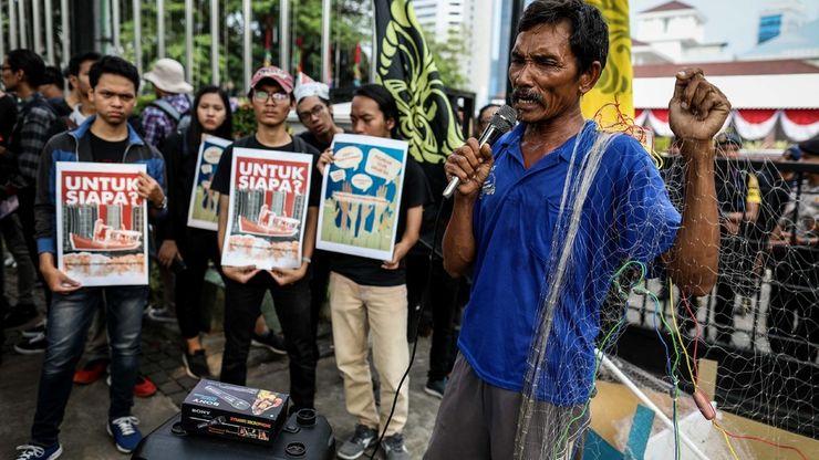 Unjuk Rasa Memprotes Terbitnya IMB di Pulau Reklamasi