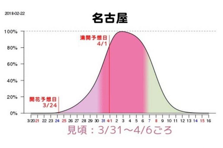 Grafik prakiraan waktu mekar sakura di Nagoya