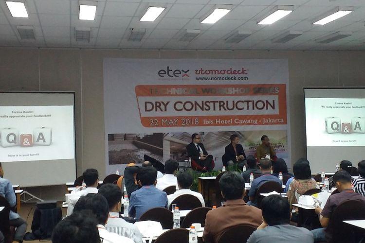 Workshop bertema Dry Construction yang digelar oleh PT Utomodeck Metal Works pada Senin (22/5/2018) di Jakarta.