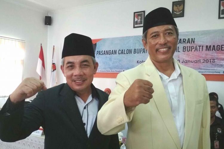Muhammad Zaenal Arifin dan Rohadi Pratoto, bakal calon bupati dan wakil bupati Pilkada Magelang 2018, saat mendaftar di KPU Magelang, Jawa Tengah, Rabu (10/1/2018).
