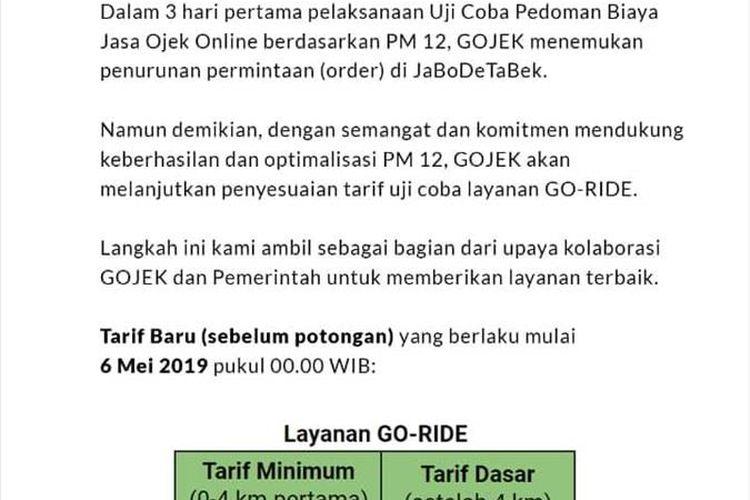 Keterangan yang diberikan Gojek kepada Para Pengemudi mereka pada Senin (6/5/2019)(KOMPAS.com/JIMMY RAMADHAN AZHARI)