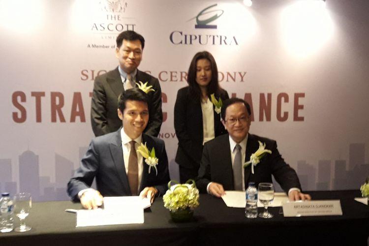 The Ascott Limited dan Ciputra Group menandatangani kerja sama pengelolaan apartemen servis Citadines Sudirman Jakarta, Senin (19/11/2018).