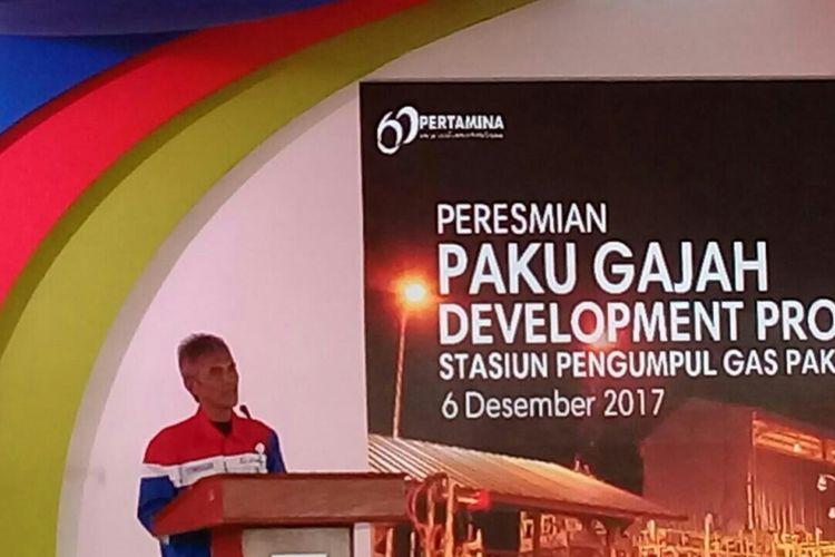 Direktur Hulu PT Pertamina Syamsu Alam pada sambutan acara peresmian Proyek Pengembangan Paku Gajah di Muara Enim, Sumsel, Rabu (6/12/2017)