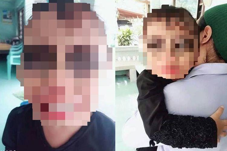 Viral, seorang anak diberi makeup hitam di sekitar mata karena terlalu sering bermain HP.