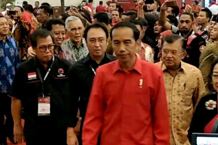 Presiden Joko Widodo saat hadir pada perayaan HUT PDI-P ke-45, di Jakarta Convention Center, Jakarta, Rabu (10/1/2018).