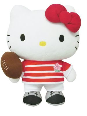 """""""Boneka Hello Kitty Tim Rugbi Jepang M"""" (3,300 yen) dengan panjang keseluruhan 25cm"""
