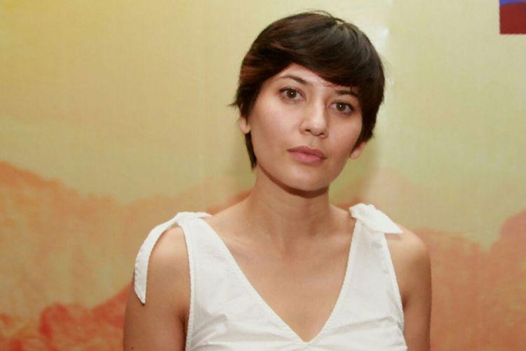 Hannah Al Rashid diwawancara sesudah konferensi pers mini seri Do[s]a di Hotel Cosmo Amaroossa, Jakarta Selatan, Jumat (11/8/2017) malam.