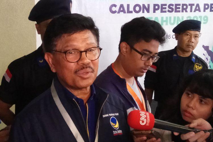 Sekretaris Jendral DPP Partai Nasdem Johnny G Plate menargetkan partainya dapat meraih double digit suara pada Pemilu 2019 mendatang. Jakarta, Jumat (13/10/2017).