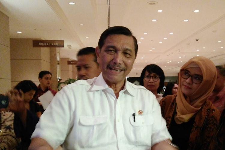 Menteri Koordinator bidang Kemaritiman dan Sumber Daya Mineral Luhut Binsar Pandjaitan di Jakarta Convention Center, Jakarta, Rabu (12/7/2017).