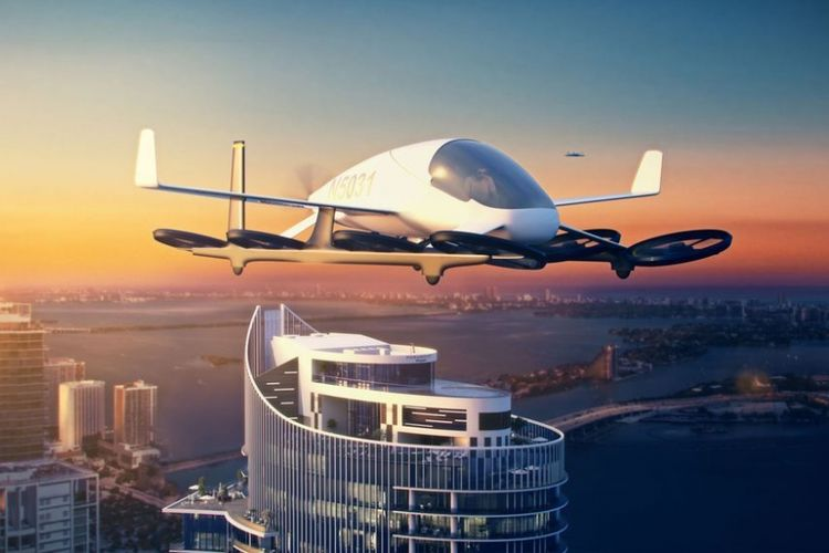 Ilustrasi hunian dengan mobil terbang