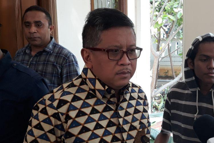 Sekjen PDI Perjuangan Hasto Kristiyanto di Rumah Cemara, Jakarta, Kamis (30/8/2018).