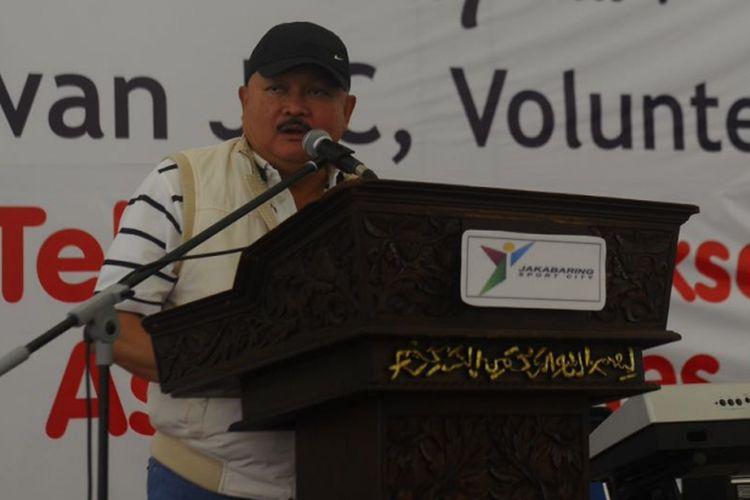 Gubernur Sumsel Alex Noerdin saat bertemu dengan para volounteer eks Asian Games di Jakabaring, Palembang, Sabtu (15/9/2018). Alex saat ini telah ditunjuk sebagai ketua timses kemenangan Jokowi-Maruf Amin pada Pilpres 2019 nanti untuk wilayah Sumatera Selatan.