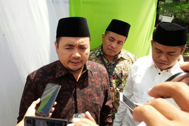 Anggota Bawaslu RI, Mochammad Afifuddin (baju coklat), saat berada di Pesantren Tebuireng Jombang, Sabtu (4/8/2018).