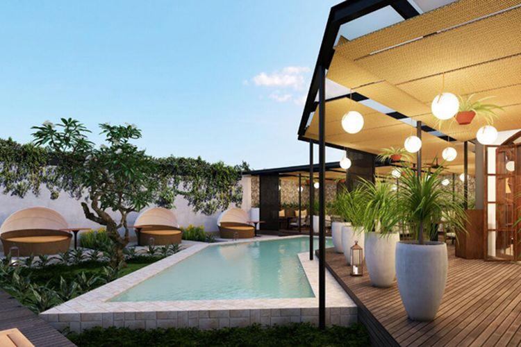 Suasana teras belakang Restoran Mendjangan yang lengkap dengan kolam renang untuk bermain anak, di Kemang Jakarta.