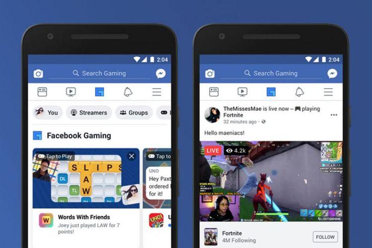 Ilustrasi tab Gaming aplikasi Facebook