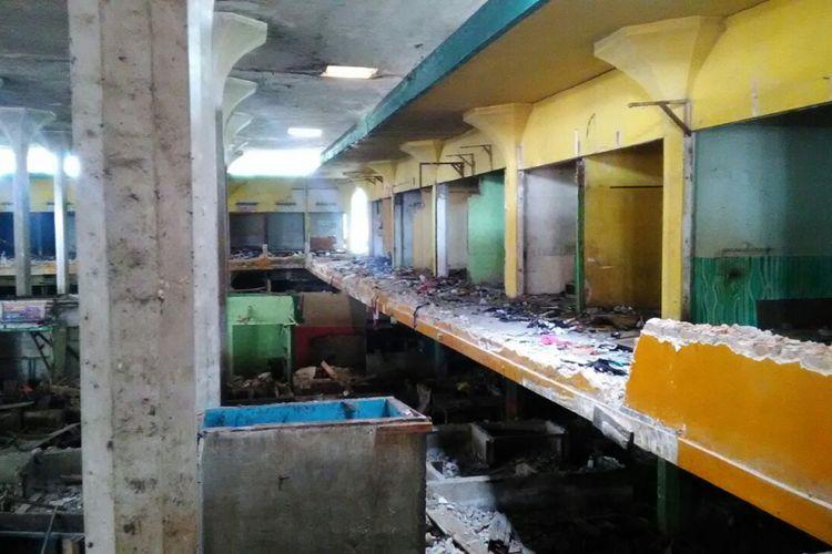 Pasar Cinde di Palembang, Sumatera Selatan, setelah dibongkar.