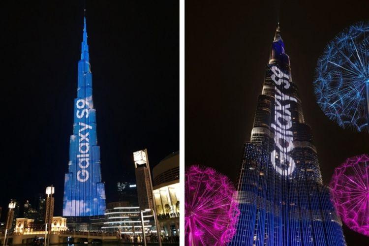 Pertunjukan LED Samsung Galaxy S9 di menara Burj Al-Khalifa, Dubai, Uni Emirat Arab.