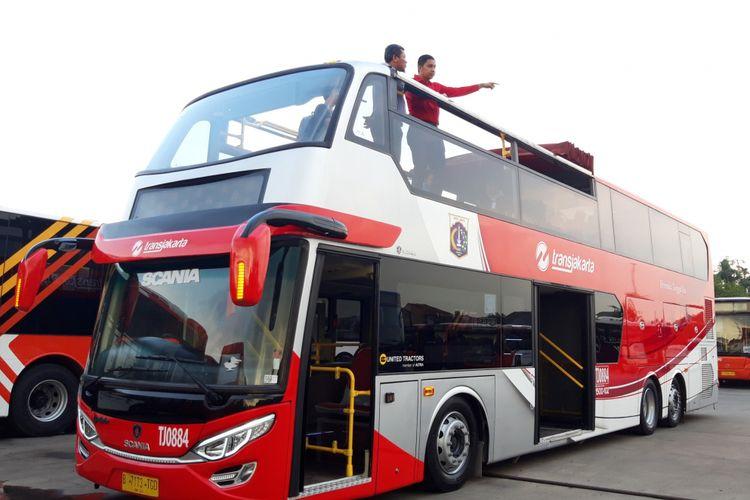 Ilustrasi: Satu unit bus tingkat yang disediakan khusus oleh PT Transjakarta, Kamis (13/12/2018)