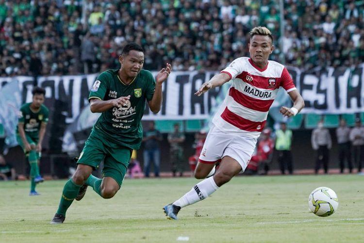 Persebaya Surabaya bermain imbang 1-1 dengan Madura United pada laga leg pertama babak perempatfinal Piala Indonesia 2018 di Stadion Gelora Bung Tomo, Rabu (19/6/2019) sore WIB.