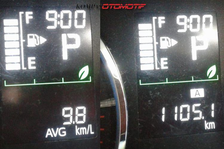 Total jarak dan komsumsi BBM Toyota Rush mulai dari Merak, Cikampek, Pekalongan, Solo, dan Surabaya