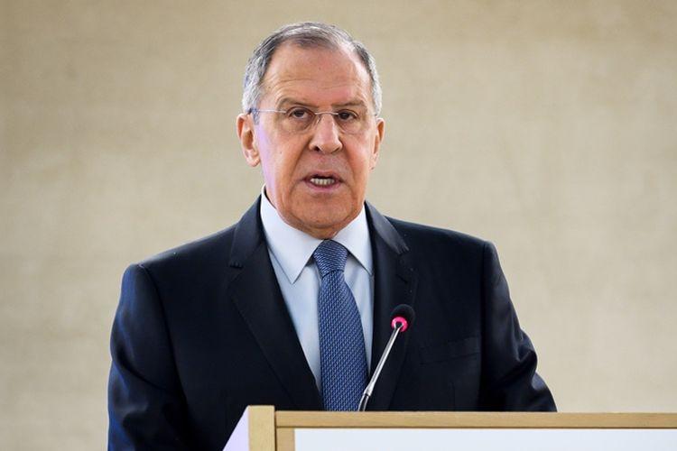 Menteri Luar Negeri Rusia Sergei Lavrov berbicara dalam forum PBB di Jenewa, Swiss, Rabu (28/2/2018).