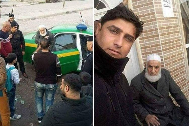 Abu Omer alias Si Janggut Putih saat ditangkap aparat keamanan Irak pekan lalu di kota Mosul. Dikabarkan, pria ini dibebaskan setelah membayar sejumlah uang kepada polisi Irak.(Ahlul Bayt News Agency)